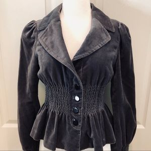 Anthropologie Elevenses Gray Velvet Jacket size 6